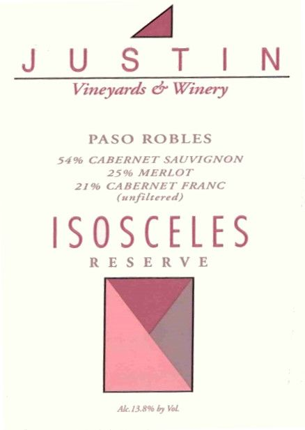 Justin Isosceles Reserve 2002  Front Label