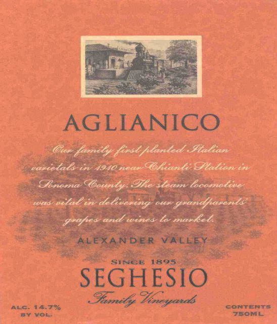 Seghesio Aglianico 2003 Front Label