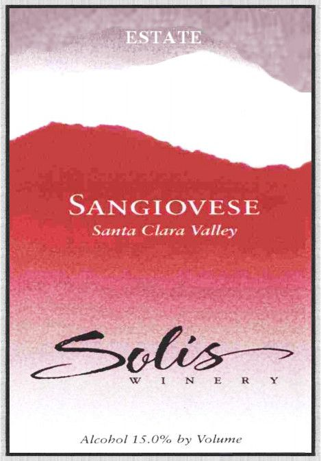 Solis Winery Estate Sangiovese 2011  Front Label