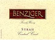 Benziger Syrah 1997 Front Label
