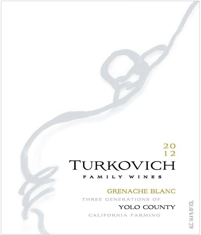 Turkovich Family Wines Grenache Blanc 2012 Front Label
