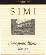 Simi Alexander Valley Merlot 2001 Front Label