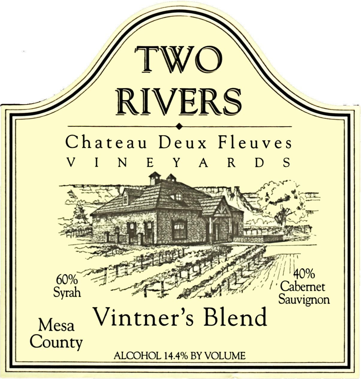 Two Rivers Winery and Chateau Mesa County Deux Fleuves Vineyards Vintner's Blend 2013 Front Label