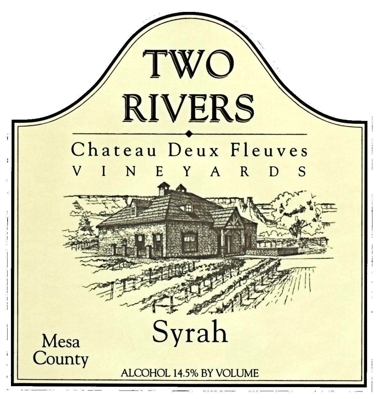 Two Rivers Winery and Chateau Mesa County Deux Fleuves Vineyards Syrah 2014 Front Label