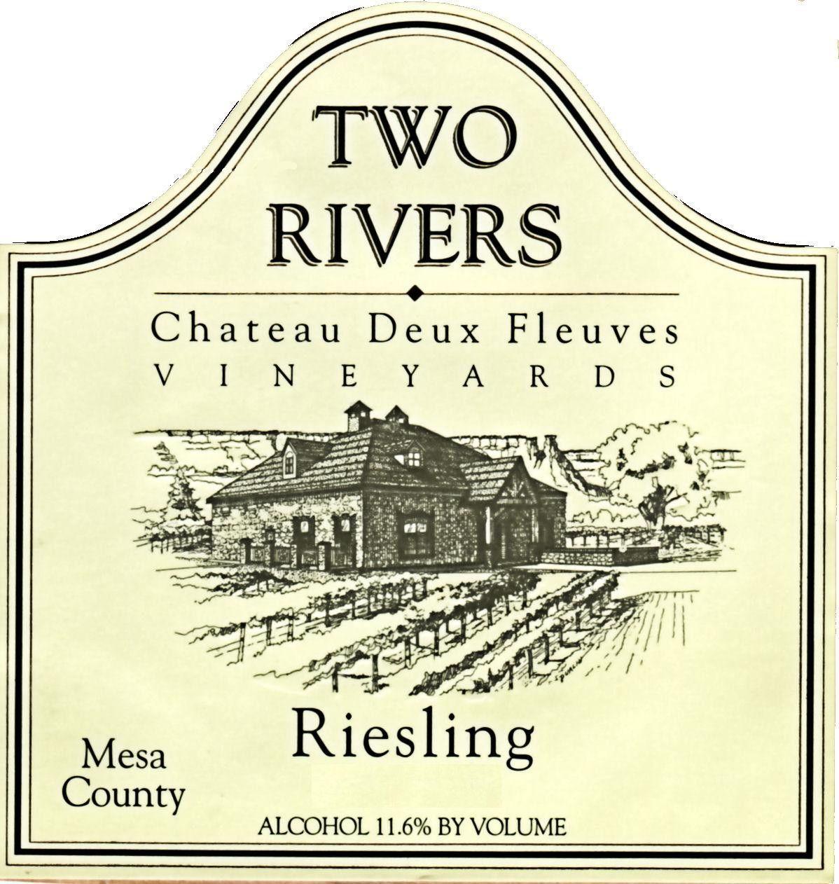 Two Rivers Winery and Chateau Mesa County Deux Fleuves Vineyards Riesling 2013 Front Label