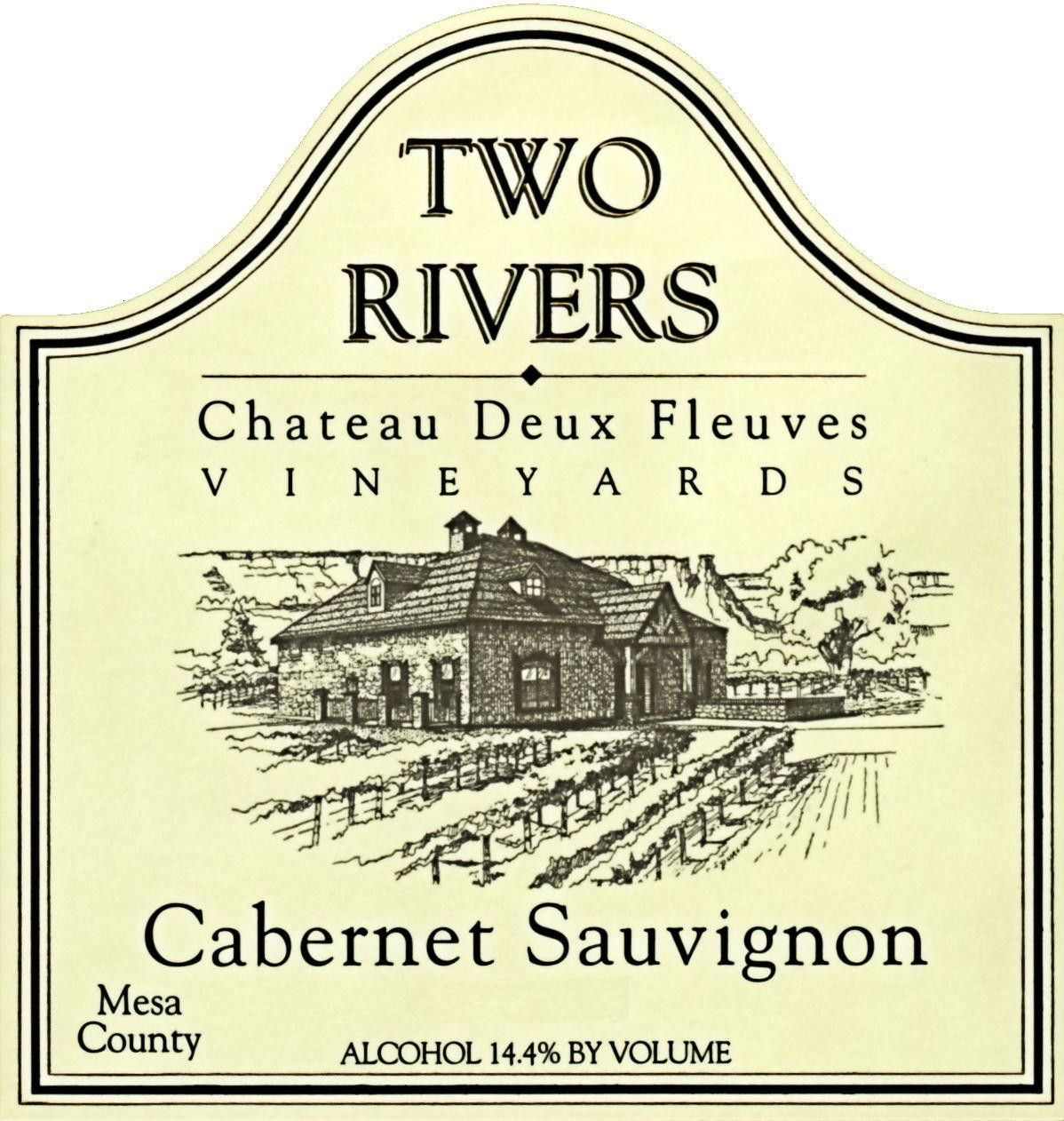 Two Rivers Winery and Chateau Mesa County Deux Fleuves Vineyards Cabernet Sauvignon 2012 Front Label