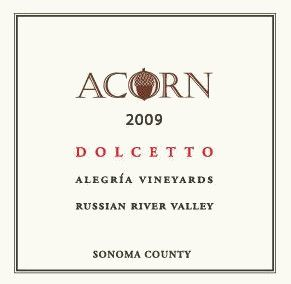 ACORN Winery Alegria Vineyards Dolcetto 2009 Front Label