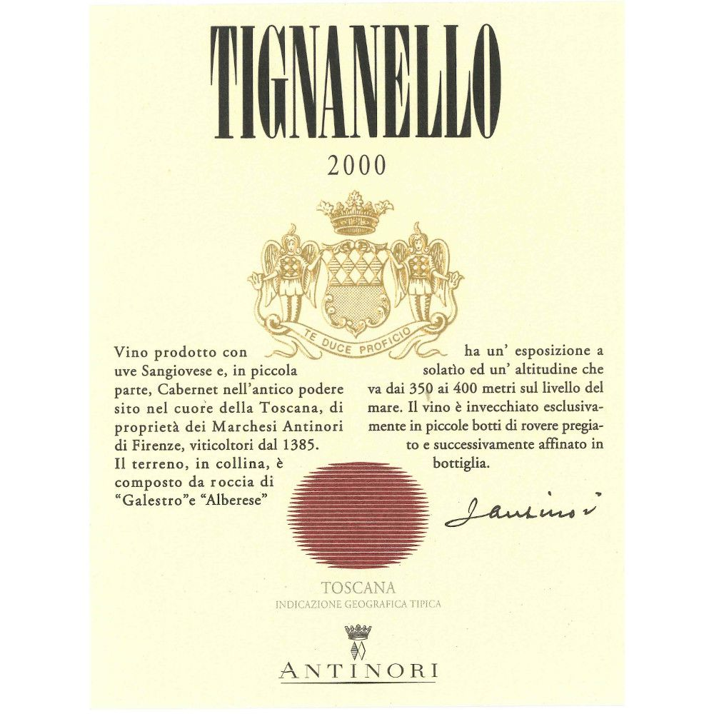 Antinori Tignanello 2000 Front Label