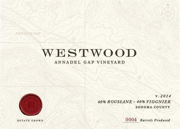 Westwood Winery Annadel Gap Vineyard Estate Roussanne-Viognier 2014 Front Label