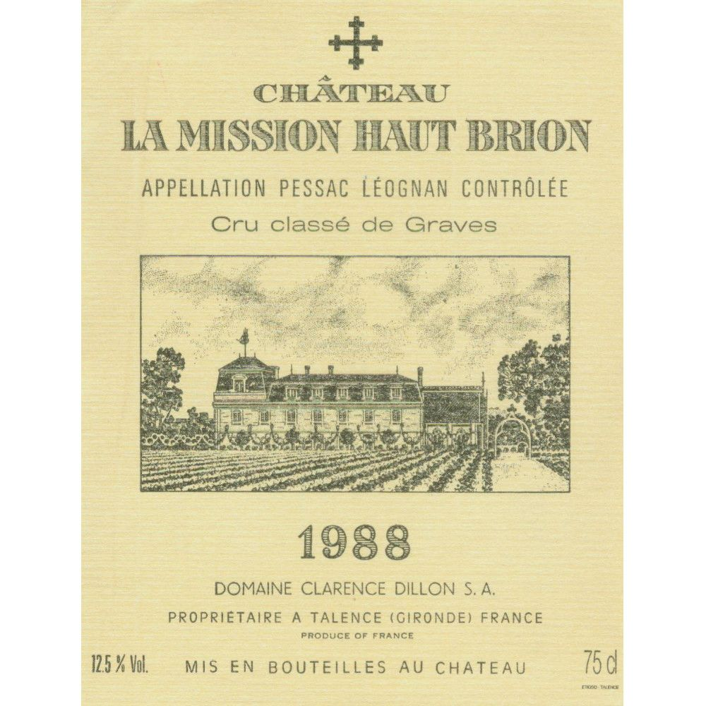 Chateau La Mission Haut-Brion  1988 Front Label