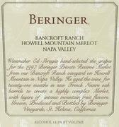 Beringer Howell Mtn. Bancroft Ranch Merlot (loose capsules) 1997 Front Label
