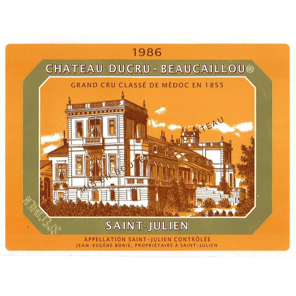Chateau Ducru-Beaucaillou  1986 Front Label