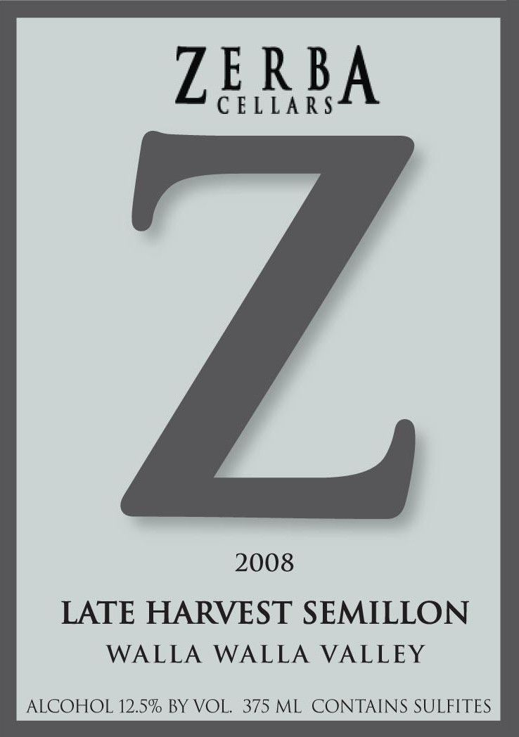 Zerba Cellars Late Harvest Semillon 2008 Front Label