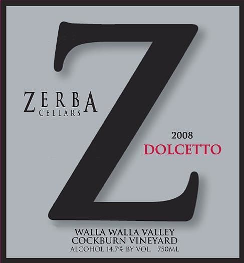 Zerba Cellars Dolcetto 2008 Front Label