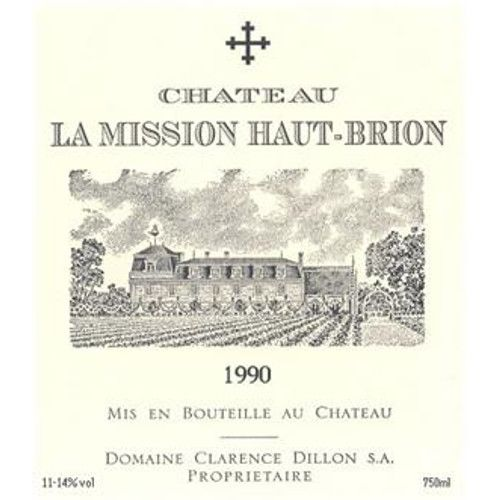 Chateau La Mission Haut-Brion (stained label) 1990 Front Label