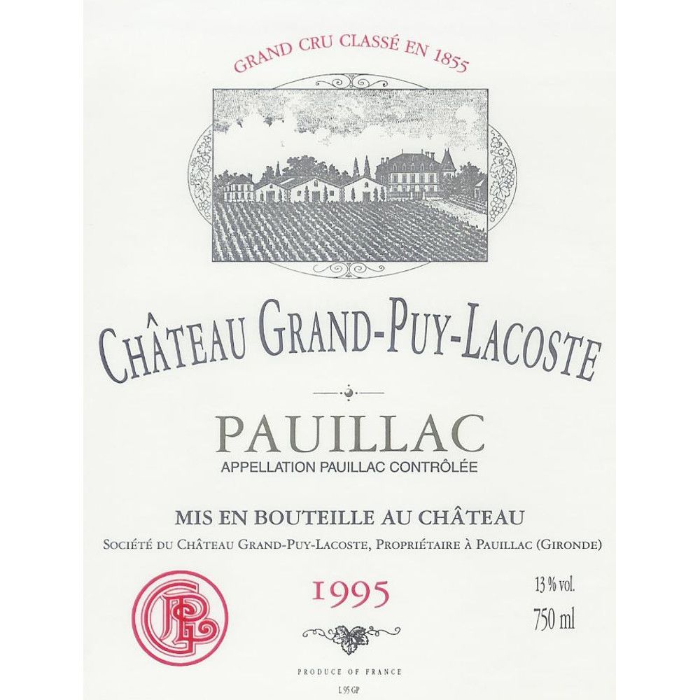 Chateau Grand-Puy-Lacoste  1995 Front Label