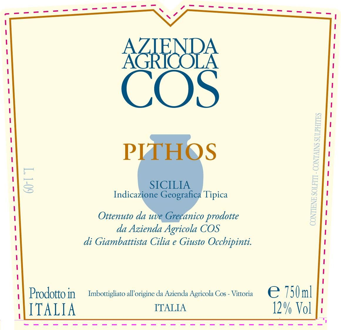 Cos Pithos Bianco 2012 Front Label