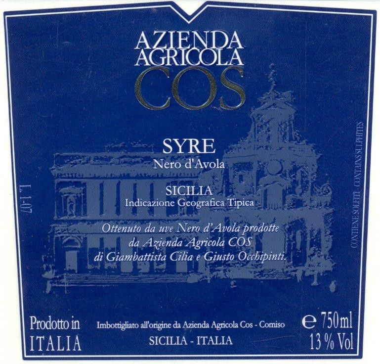 Cos Syre Nero d'Avola 2005 Front Label