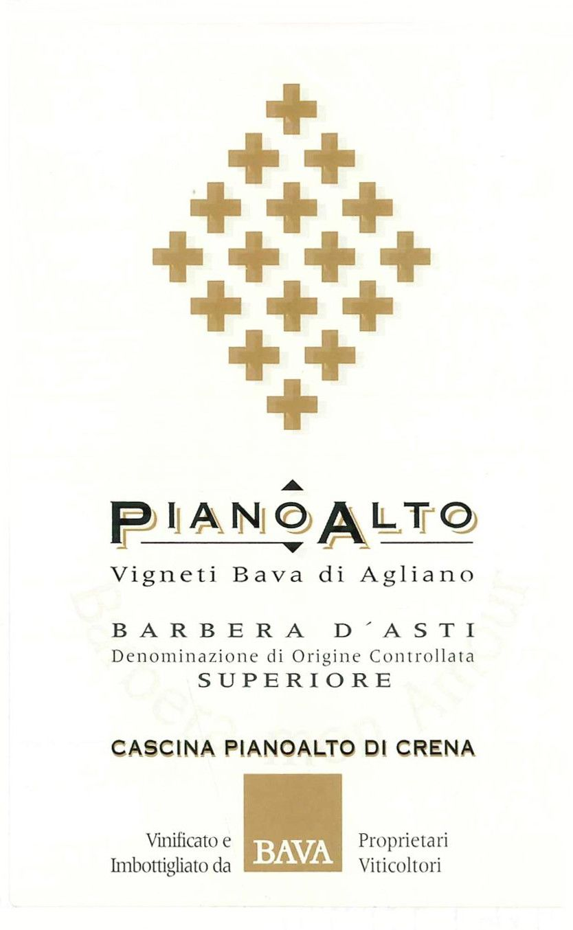 Bava Barbera d'Asti Superiore Nizza Pianoalto 2003 Front Label