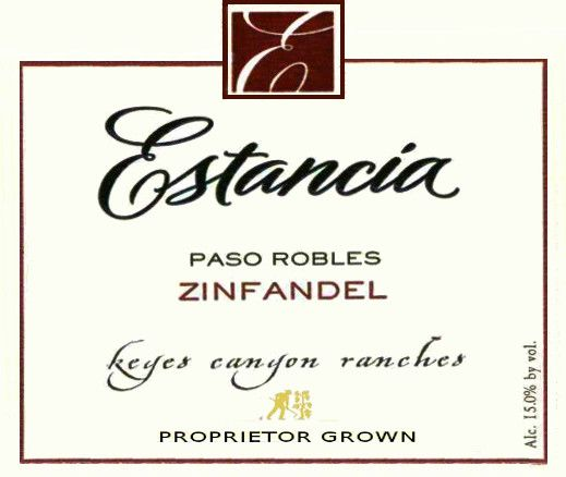 Estancia Keyes Canyon Ranches Zinfandel 2006  Front Label