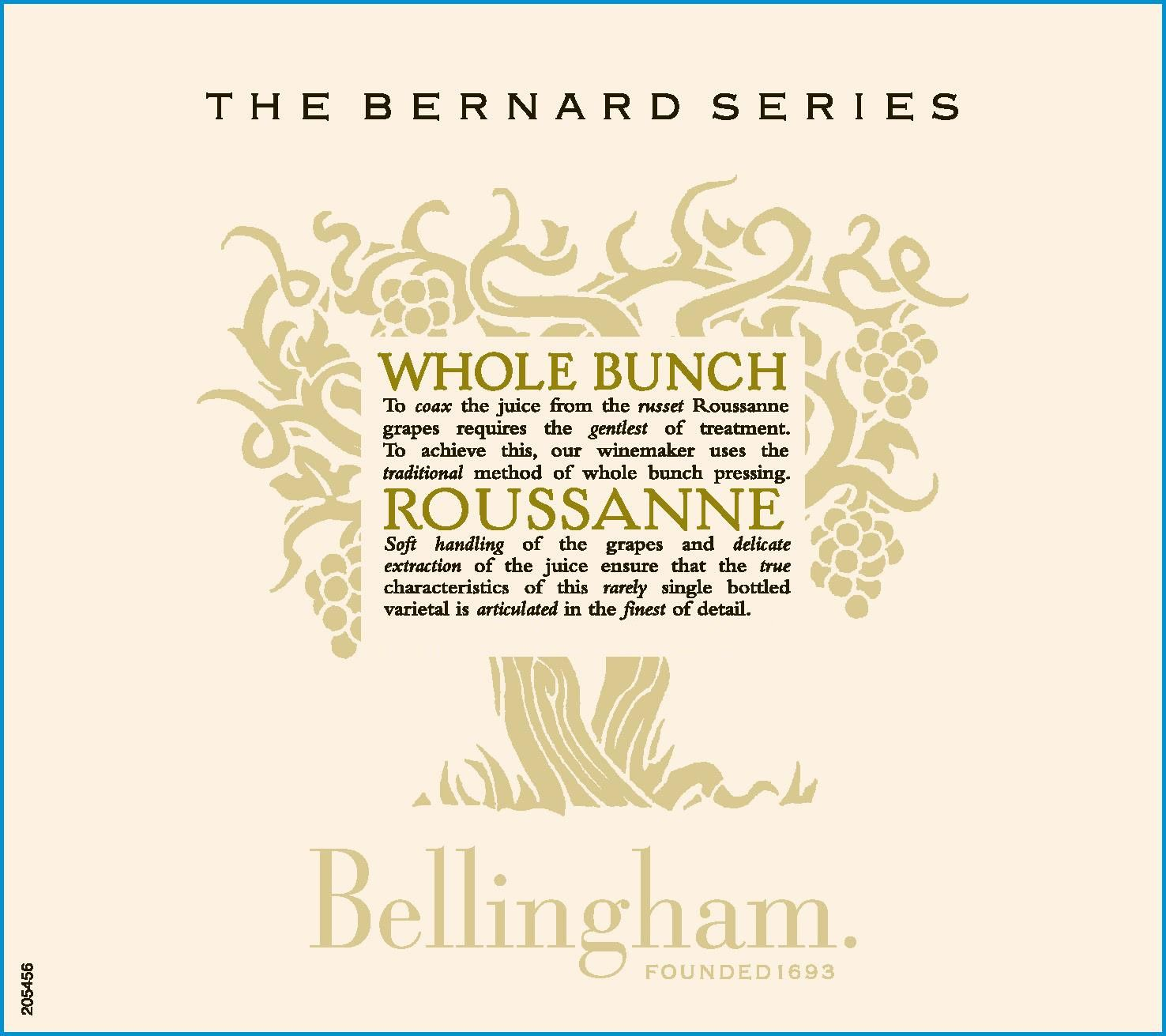 Bellingham The Bernard Series Whole Bunch Rousanne 2015 Front Label