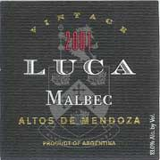 Luca Malbec 2001 Front Label