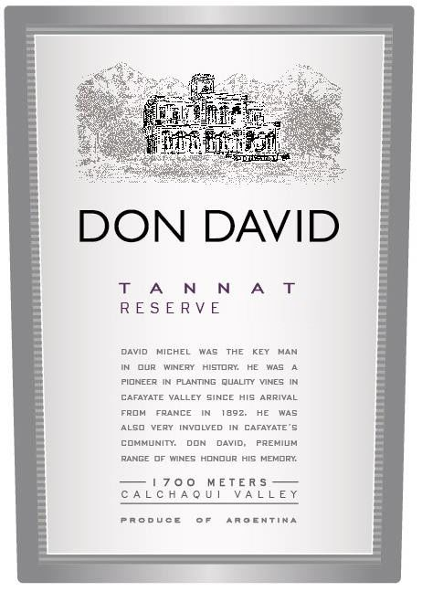 El Esteco Don David Tannat Reserve 2013 Front Label