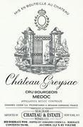 Chateau Greysac  1996 Front Label