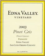 Edna Valley Vineyard Pinot Gris 2003 Front Label
