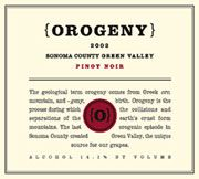 Orogeny Vineyards Pinot Noir Green Valley 2002 Front Label