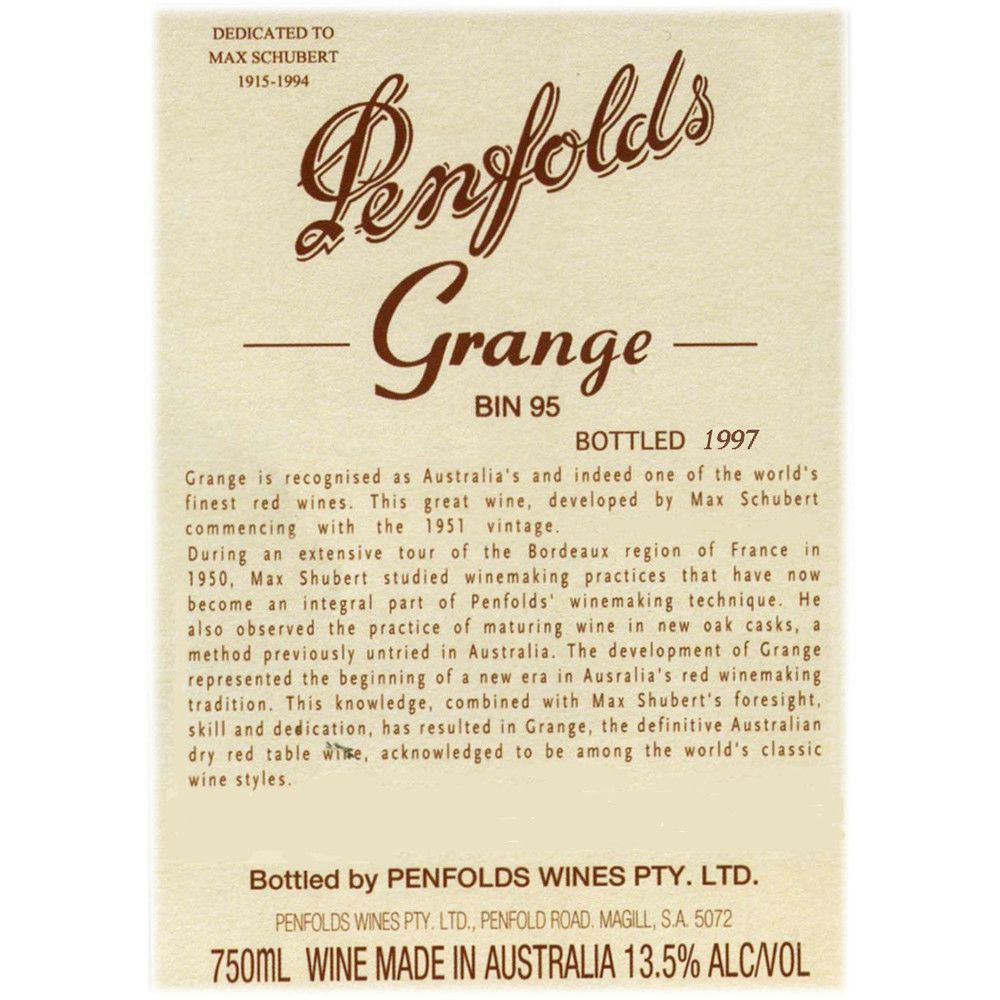 Penfolds Grange 1999 Front Label