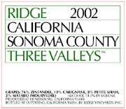 Ridge Three Valleys Red 2002 Front Label