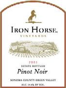 Iron Horse Estate Pinot Noir 2001 Front Label