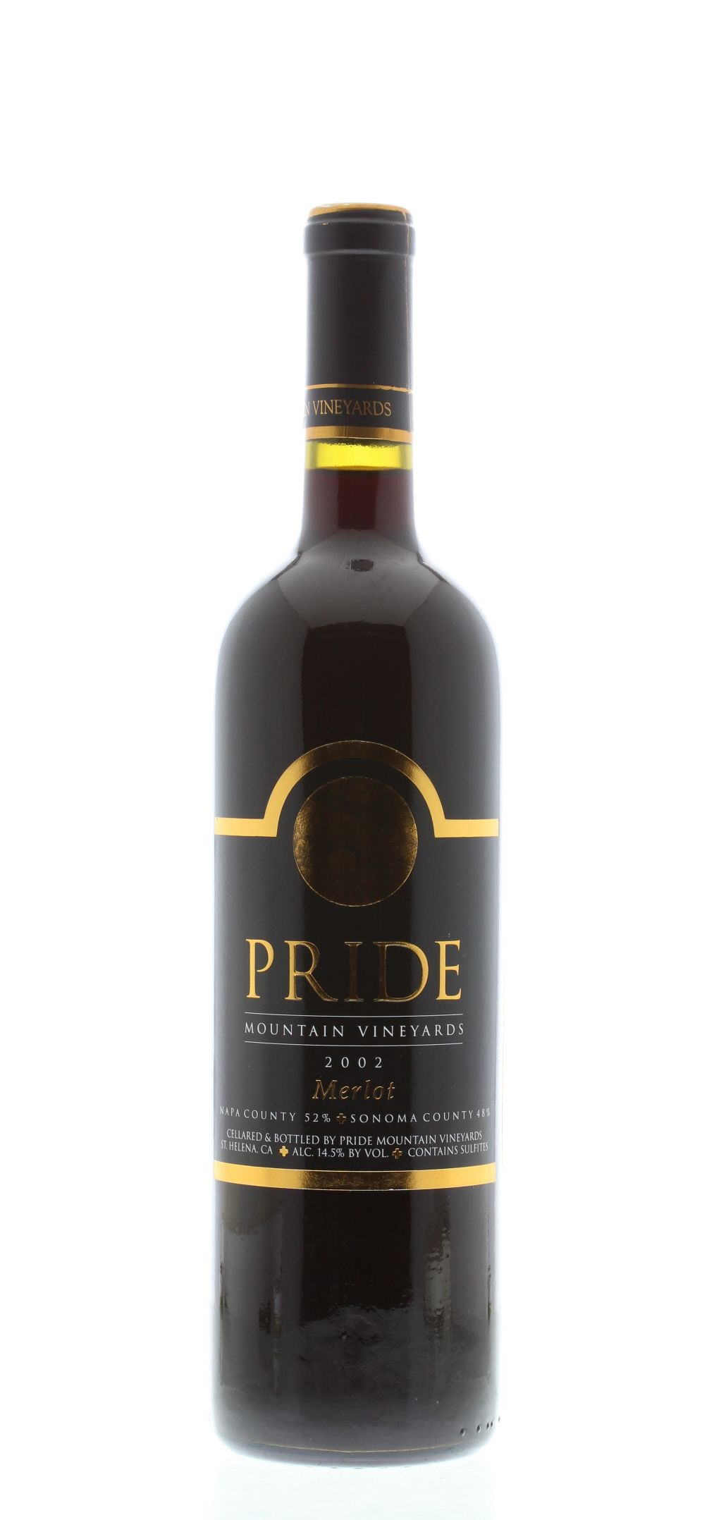 Pride Mountain Vineyards Merlot 2002 Front Bottle Shot