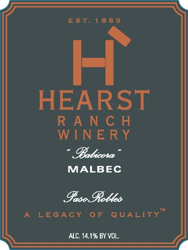 Hearst Ranch Babicora Malbec 2010  Front Label