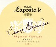 Lapostolle Cuvee Alexandre Syrah 2002 Front Label