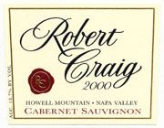 Robert Craig Cellars Howell Mountain Cabernet Sauvignon 2001 Front Label