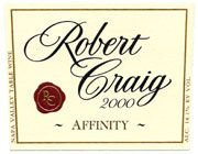 Robert Craig Cellars Affinity 2001 Front Label
