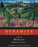 Dynamite Vineyards Dynamite Merlot (1.5 Liter) 2001 Front Label