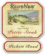 Rosenblum Cellars Petite Sirah Pickett Road 2003 Front Label