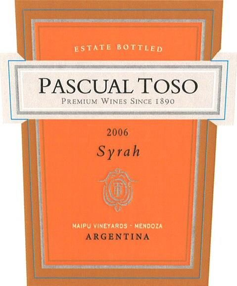 Pascual Toso Syrah 2006 Front Label