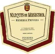 Marques de Monistrol Reserva Privada 1999 Front Label
