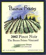Beaux Freres The Beaux Freres Vineyard Pinot Noir 2002 Front Label
