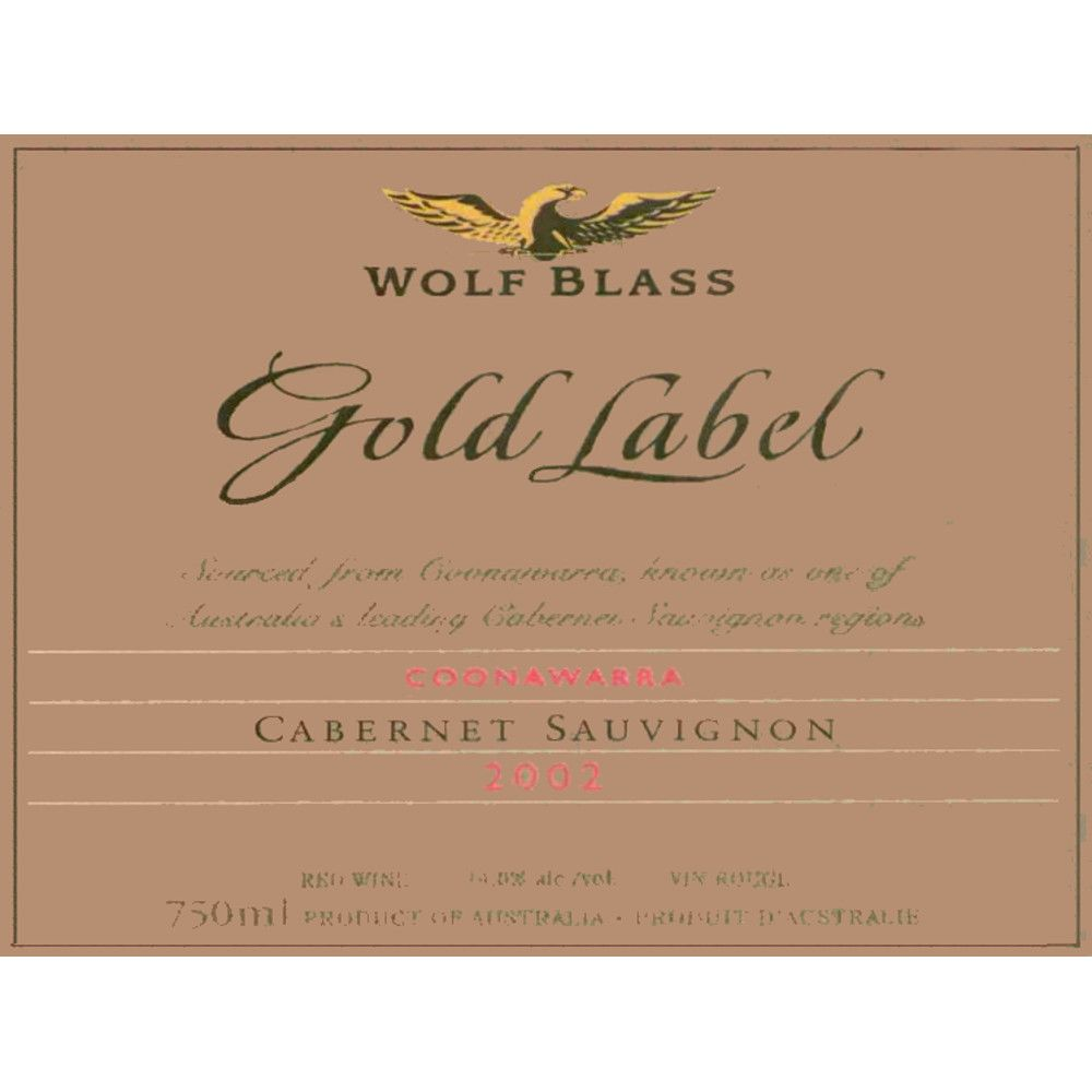 Wolf Blass Gold Label Cabernet Sauvignon 2002 Front Label