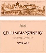 Columbia Winery Columbia Valley Syrah 2001 Front Label