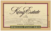 King Estate Pinot Gris 2003 Front Label