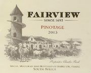 Fairview Pinotage 2003 Front Label