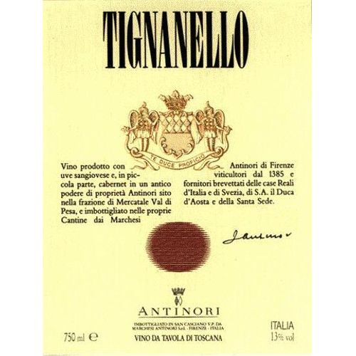 Antinori Tignanello 2001 Front Label