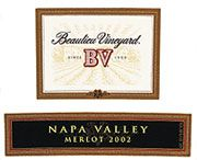 Beaulieu Vineyard Napa Valley Merlot 2002 Front Label