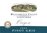 Willamette Valley Vineyards Pinot Gris 2004 Front Label